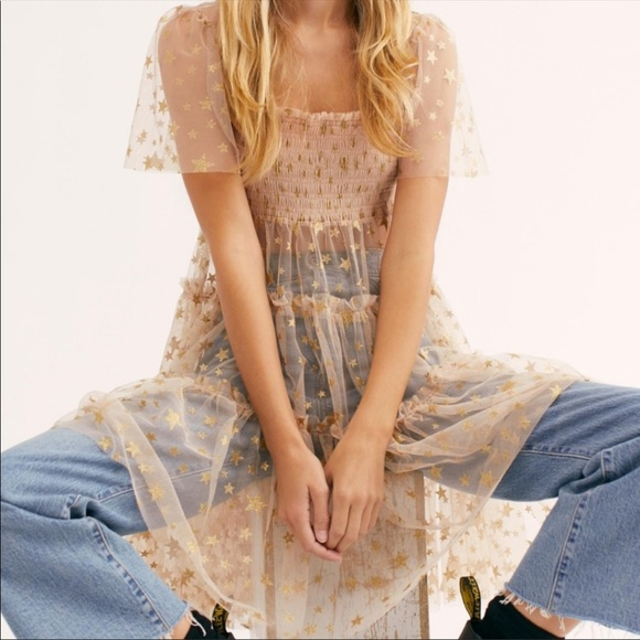 Free People Starbright Tulle Sheer Tunic large